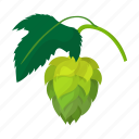 beer, botany, brew, cartoon, flavor, hop, plant icon