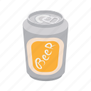 aluminum, beverage, can, cartoon, cold, liquid, metal icon