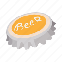 alcohol, bar, beer, beverage, cap, cartoon, metal icon