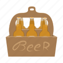 alcohol, beer, blank, bottle, box, cartoon, case icon