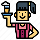 beer, glass, waitress, woman icon