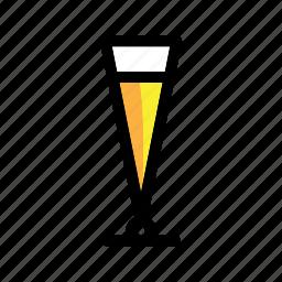 alcohol, ale, beer, beer glass, beverage, cup, drink, glass, pilsner, pilsner glass icon