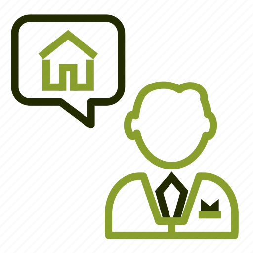 agent, consultant, house, loan, message icon