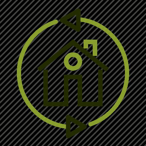 apartment, arrows, building, home, loan icon