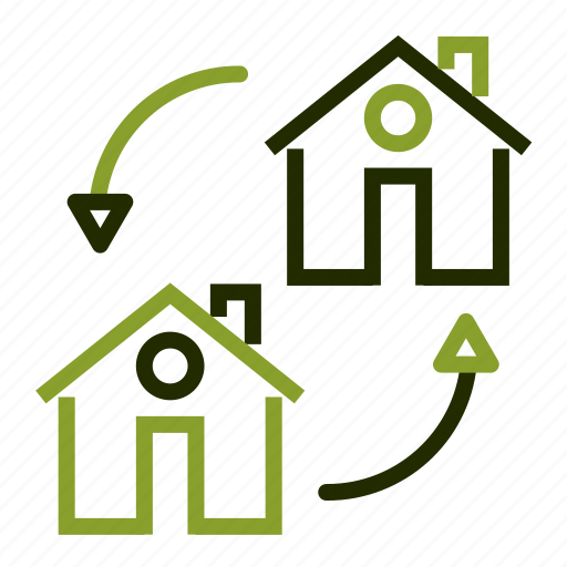 apartment, arrows, change, exchange, home icon
