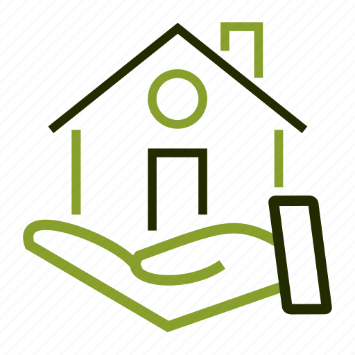 apartment, hand, home, house, loan icon