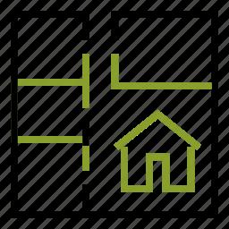 apartment, architecture, blueprint, home, project icon