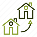 arrow, exchange, loan, move, property icon