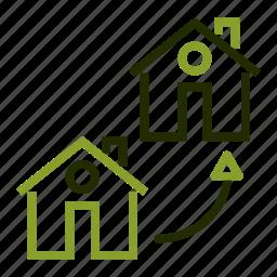 arrow, exchange, loan, move, property icon