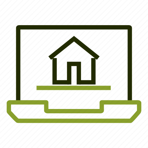 building, home, house, laptop, renting icon