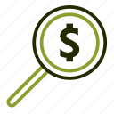 dollar, explore, house, magnifier, search icon