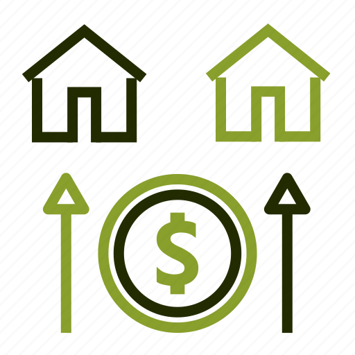 dollar, growth, home, house, mortgage icon