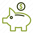 bank, financial, money, piggy, saving. icon