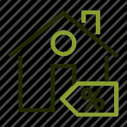 discount, estate, percent, real, sale icon