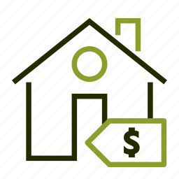 estate, house, real, sell, tag icon