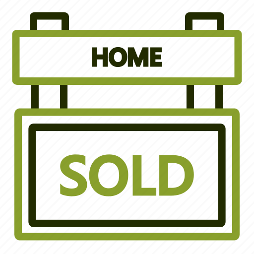 estate, real, selling, sign, sold icon