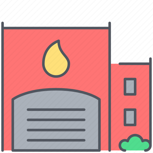 burn, extinguisher, fire, firefighter, flame, station, urgent icon