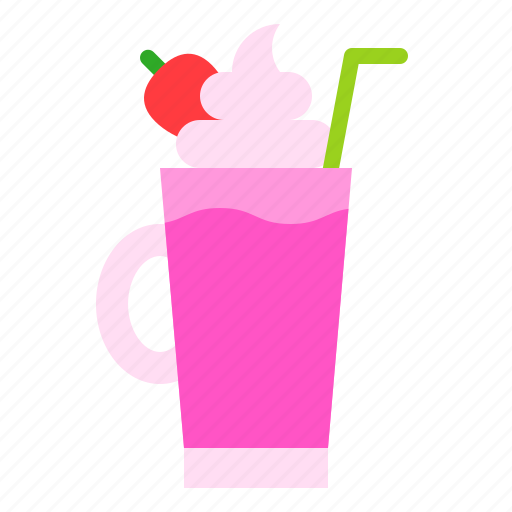 beverage, drink, milkshake, strawberry, sweet icon