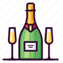 alcohol, beverage, bottle, champagne, cocktail, drink, glass icon