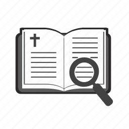 bible, book, religion, search, text icon