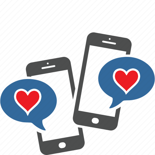dialog, heart, love, media, message, smartphone, social icon