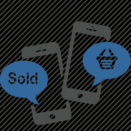 dialog, internet, media, shopping, smartphone, social, sold icon