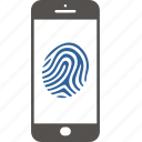 authentication, authorizationt, digital, fingerprint, identification, security, smartphone icon