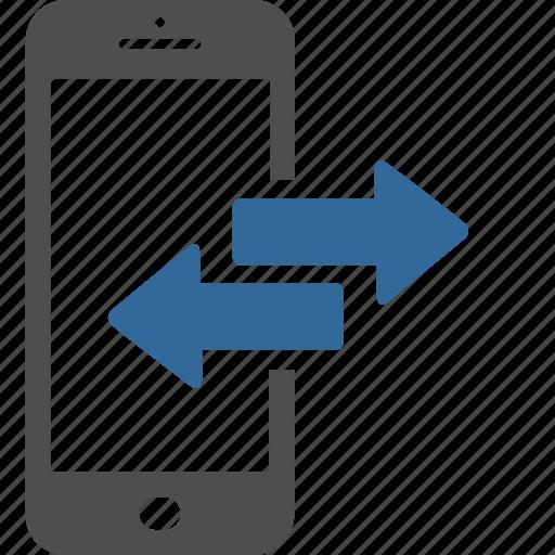 application, arrow, data, mobile, smartphone, technology, transfer icon