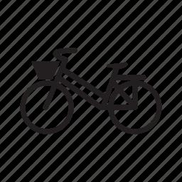 bicycle, bicycle basket, girl bike, women bike icon
