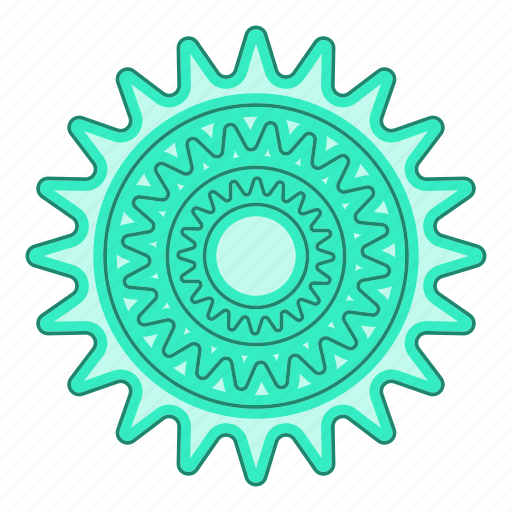 bicycle, cartoon, chain, part, pinion, speed, sprocket icon