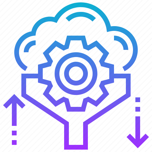 cloud, data, filter, gear, isolation icon