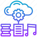cloud, data, database, file, music, note, service icon