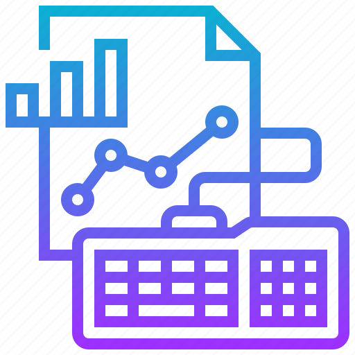 analysis, data, graph, growth, keyboard icon
