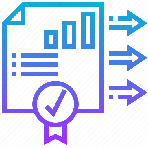 certificate, data, graph, guaranty, quality icon