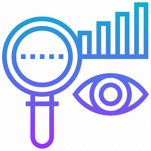 data, eye, graph, magnified, visualisation icon