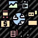 analytic, big, data, global, multimedia, server icon