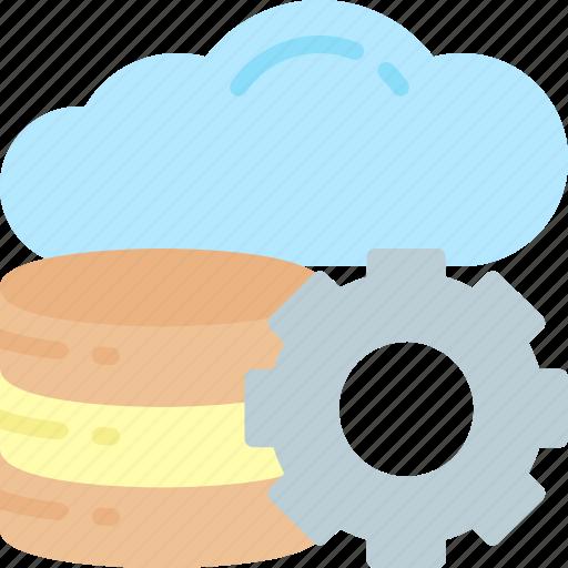 cloud, computing, database, gear, multimedia, servers, storage icon