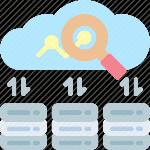 cloud, massively, processing, servers, statistics, storage, transfer icon
