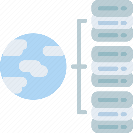 big, connection, data, global, internet, massive, servers icon