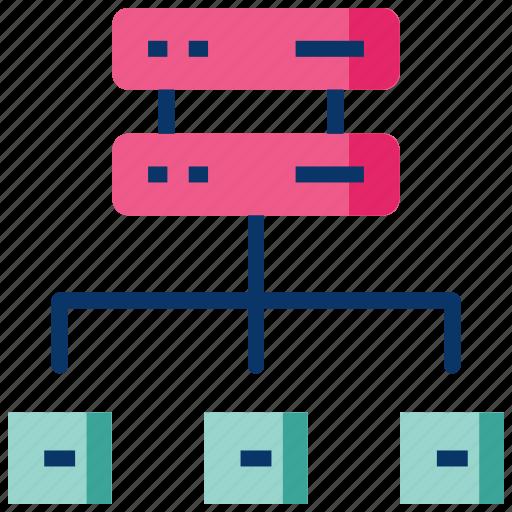 big data, data center, database, distributed computing, hosting server, network icon