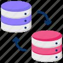 data center, data flow, data server, data transfer, network, transaction icon