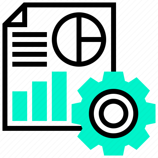 analysis, data, gear, graph, processing icon