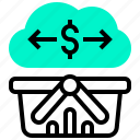 basket, cloud, data, dollar, transaction icon