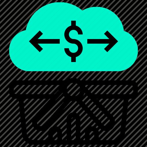 basket, cloud, data, dollar, transaction icon