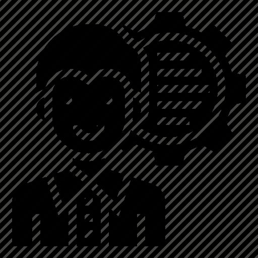 data, gear, human, man, scientist, specialist icon