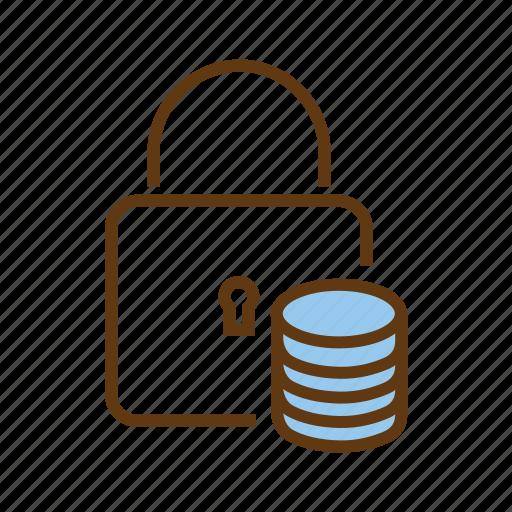 data center, database protection, database security, locked, protected database icon