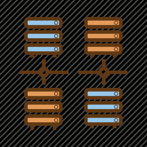 bigdata, communication, data exchange, database server, distributed database, linked database icon