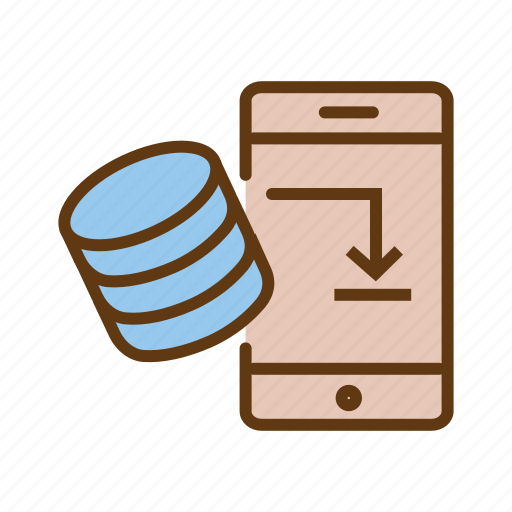database connection, external storage, mobile database, mobile storage, networking icon