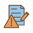 document error, error log, problem, report, warning icon