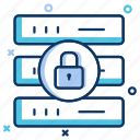 backup, data center, database protection, lock, network, safety, security icon